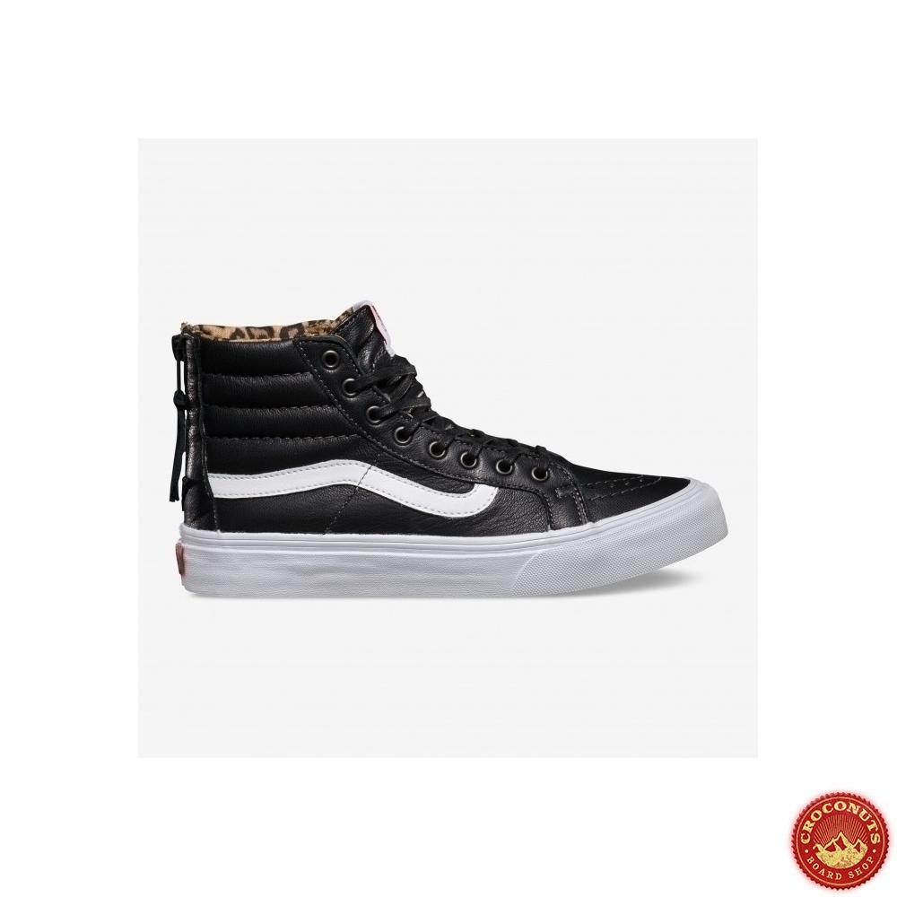 Shoes Vans Girl Sk8 Hi Slim Zip (Leather) BlackLeopard 2014