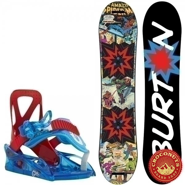 Pack Burton Chopper LTD Marvel + Fixations Burton Grom Red Blue 2017