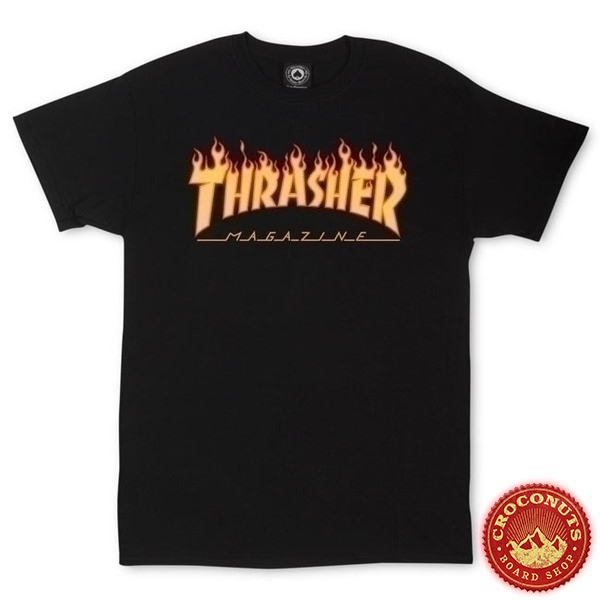Tee Shirt Thrasher Flame Logo Black 2019