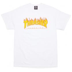 Tee Shirt Thrasher Flame Logo White 2019 pour homme