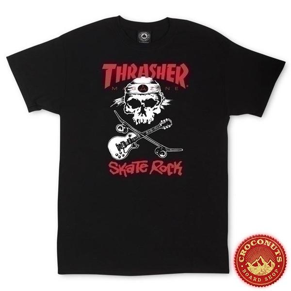 Tee Shirt Thrasher Skate Rock Skull Black 2019