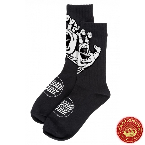 Chaussettes Santa Cruz Screaming Hand Mono Black 2020