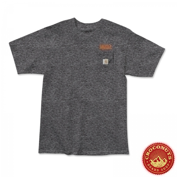 Tee Shirt Grizzly X Carhartt Stamp Work Charcoal 2020