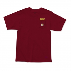 Tee Shirt Grizzly X Carhartt Stamp Work Burgundy 2020 pour homme, pas cher