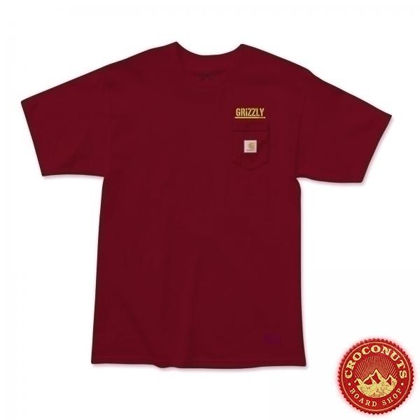 Tee Shirt Grizzly X Carhartt Stamp Work Burgundy 2020