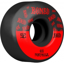 Roues Bones 100's V4 Black 52MM 2020 pour homme