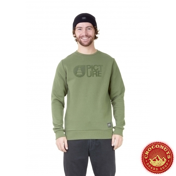 Sweat Picture Basement Flock Crew Army Green 2021