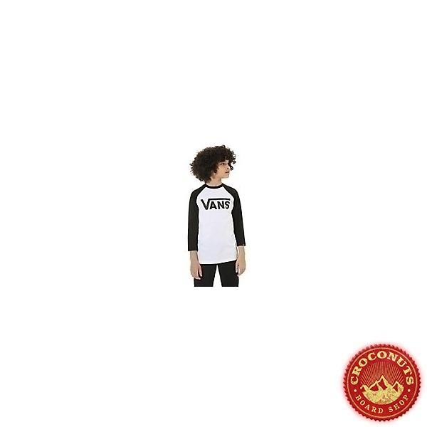 Tee Shirt Vans Raglan Boys White Black 2021