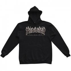 Sweat Thrasher Flame Hood Black Black 2021 pour