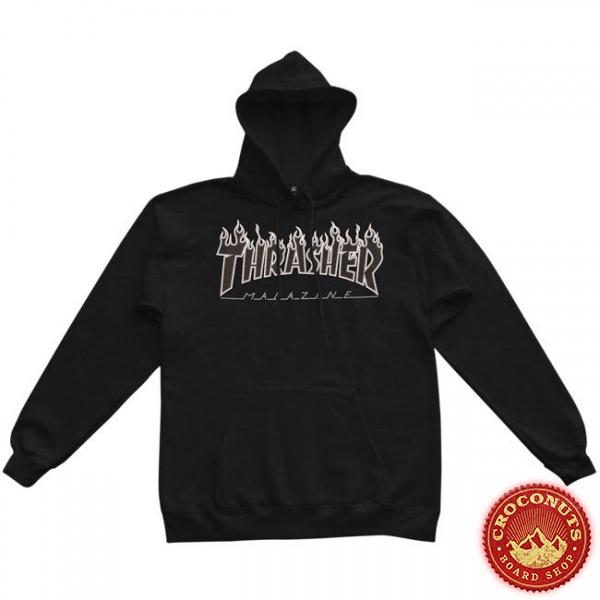 Sweat Thrasher Flame Hood Black Black 2021