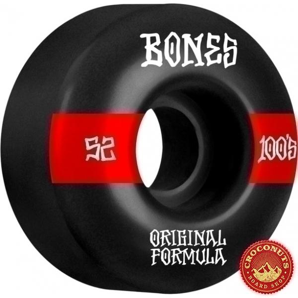 Roues Bones 100's V4 52mm Black Wide 2021
