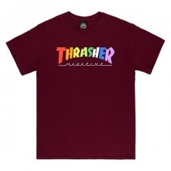 Tee Shirt Thrasher Rainbow Mag Maroon 2021 pour