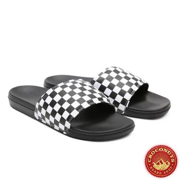 Claquettes Vans Checkerboard White Black 2021