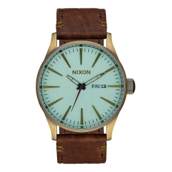 Montre Nixon Sentry Leather Brass / Green Crystal 2016